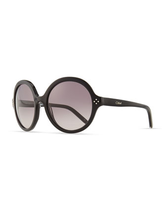Chloe Boxwood Round Sunglasses, Black