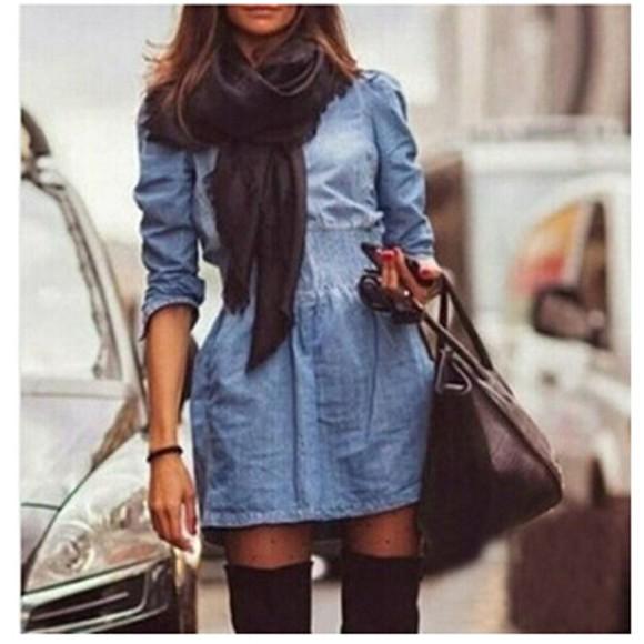 denim dress blue dress fashion women dress denim coat winter dress high waisted jeans cowboy slim dress