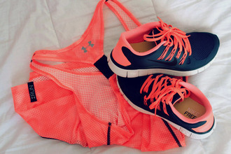shoes pink tank top nike nike free run workout gym gym clothes neon pink fitness cute gym clothes under armour free orange black sportswear nike sportswear top nike running shoes running shoes coral