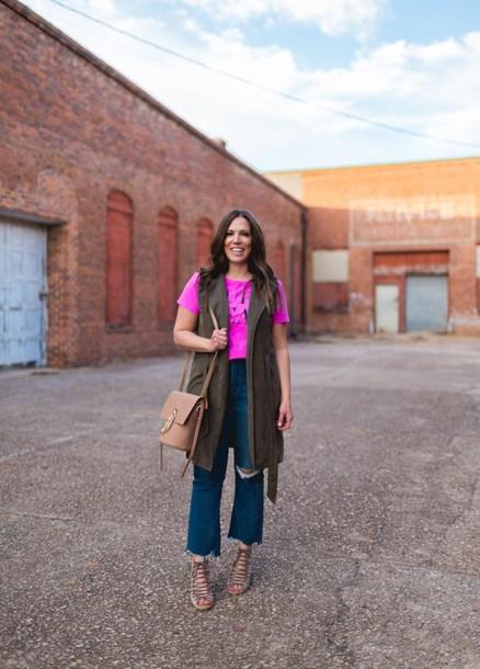 bohostylefile blogger t-shirt jacket shoes bag fall sweater pink top sleeveless coat sandals shoulder bag