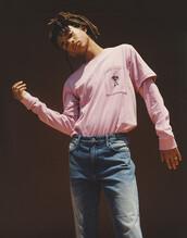 sweater,menswear,mens t-shirt,mens jeans,jaden smith,model,pink sweater
