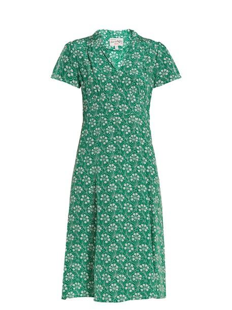 hvn dress silk dress print silk green