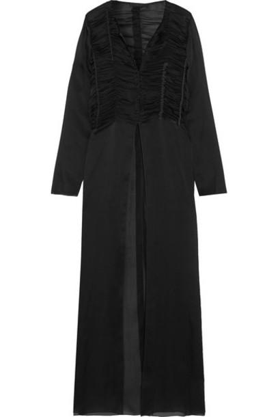 The Row - Sabrina Smocked Silk-chiffon Maxi Dress - Black