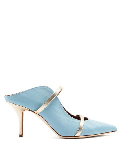 mules silver blue shoes