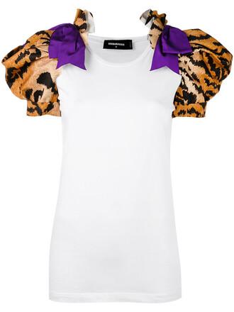t-shirt shirt women tiger tiger print white cotton print top