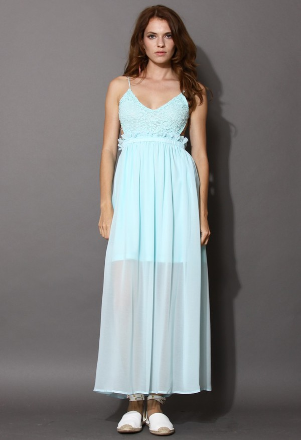 chicwish open  back maxi dress mint blue