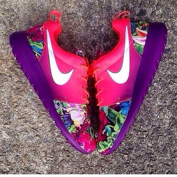 shoes sneakers nike sneakers hawaiian cute colorful nikes rainbow roshes  floral nike shoes pink shoes nike adbef6e96