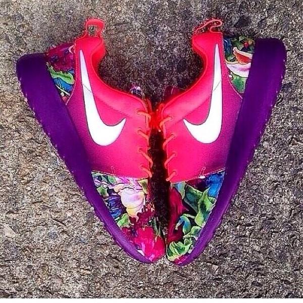 98dabc224299 shoes sneakers nike sneakers hawaiian cute colorful nikes rainbow roshes  floral nike shoes pink shoes nike.