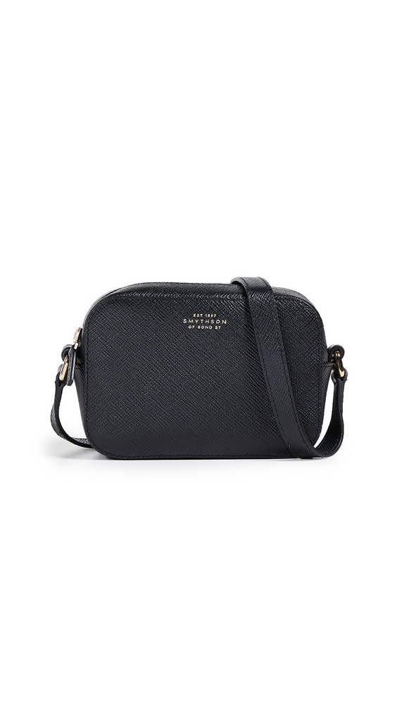 Smythson Panama Mini Camera Bag with Leather Strap in black