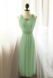 long dress,mint dress,dress