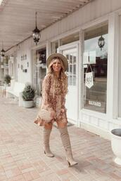 januaryhart,blogger,dress,bag,shoes,hat,jewels,boots,over the knee,shoulder bag,fall outfits