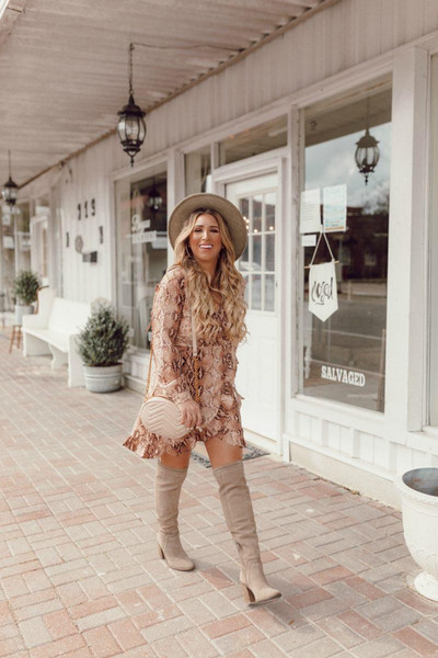 januaryhart blogger dress bag shoes hat jewels boots over the knee shoulder bag fall outfits