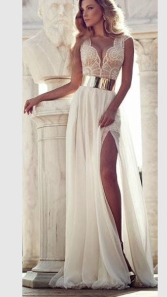 dress white dress gold cream dress prom dress long prom dress