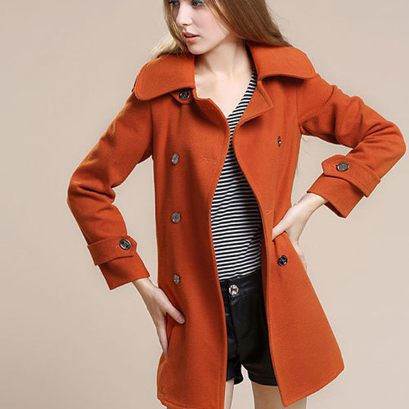 coat trench wool double breast
