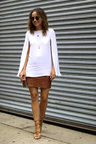 top leather skirt fashion week 2014 streetstyle le fashion image blogger sunglasses bag white top long sleeves mini skirt snake print gladiators white blouse clutch