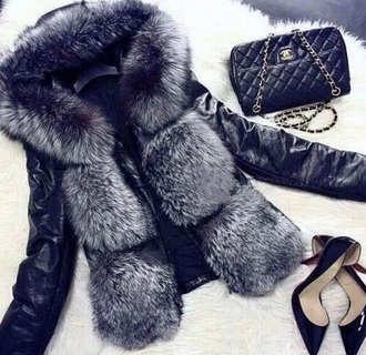 coat jacket sweater hoodie fur coat redheels heels shoes high heels purse clutch chanel bag bag style fashion chanel top black cute sexy