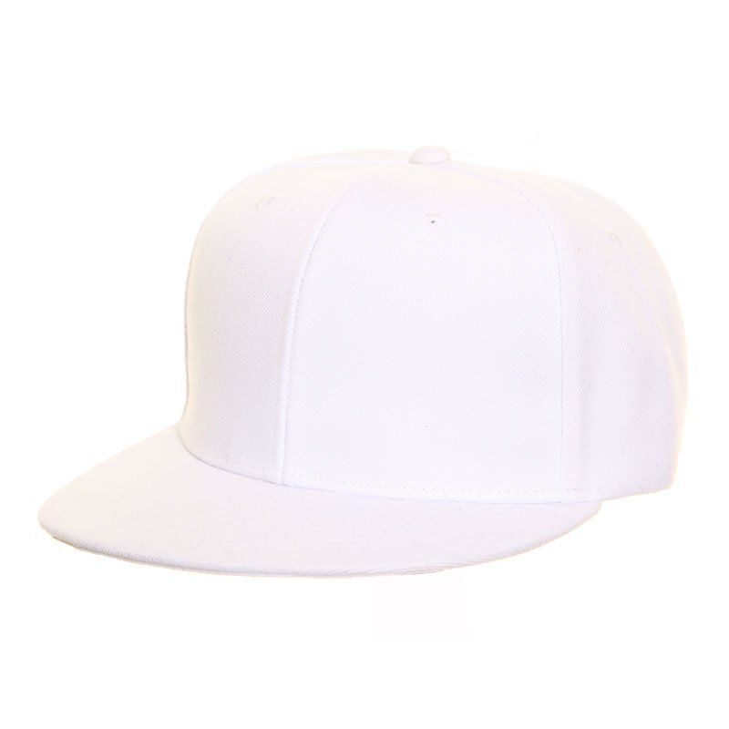 White Snap Back Flat Peak Baseball Cap one size free fast post 1st class