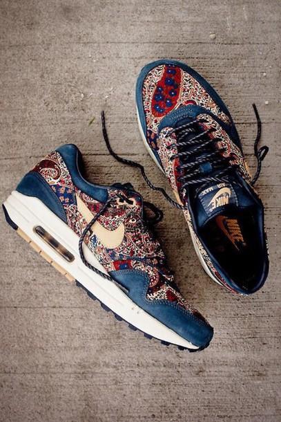info for 8d05b cae45 ... order shoes nike nike air max 1 air max oriental print nikeairmaxshoes  libertyburton liberty nike air best nike air max 1 liberty navy blue ...