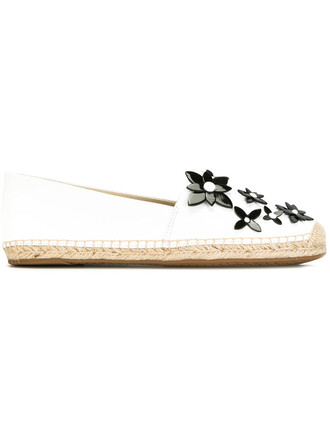 women espadrilles floral leather white shoes