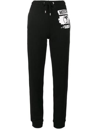 pants track pants women cotton print black