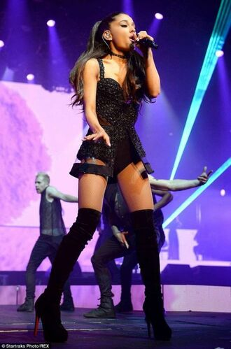 mini dress long hair booties ariana grande concert boots fur tour black