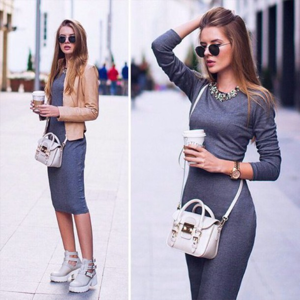 Dress Street Jacket Midi Dress Grey