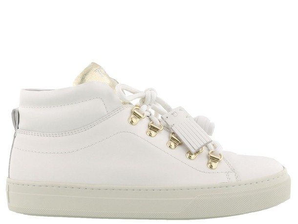Tods gold white shoes