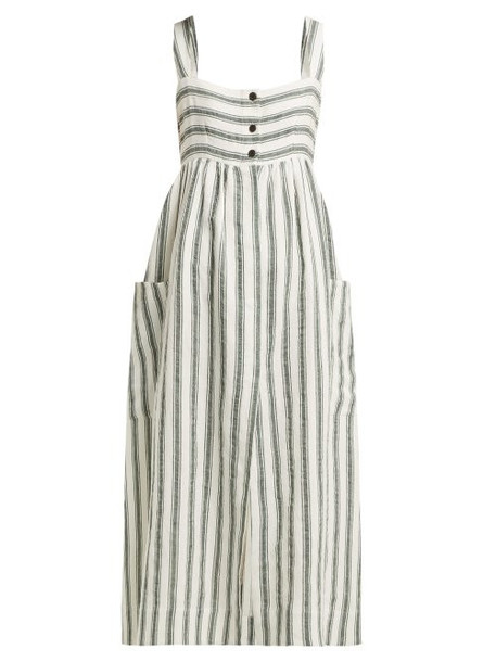 Three Graces London - Elinor Striped Linen Blend Dress - Womens - Green Stripe