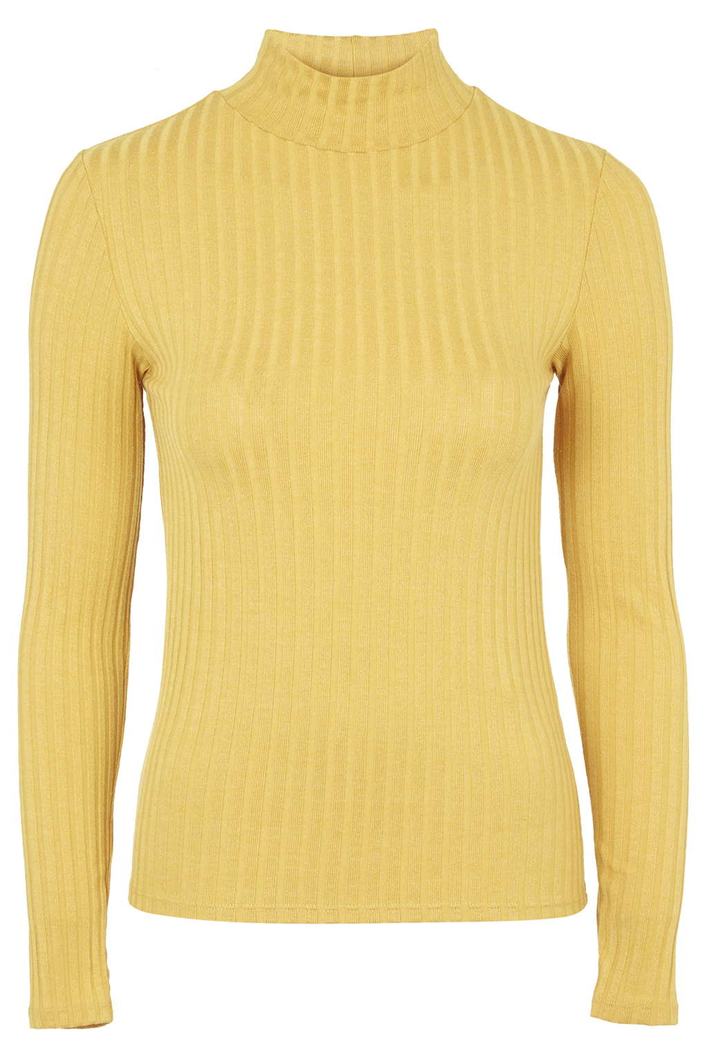 Ribbed Funnel Neck Top - Tops - Clothing
