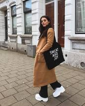 coat,oversized coat,wool coat,flare pants,white sneakers,platform sneakers,shoulder bag,earrings