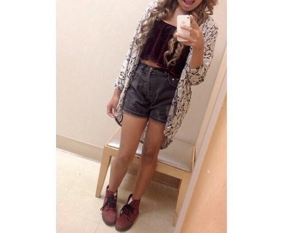 shorts highwaisted shorts cute high rise acid wash dark grey sweater tank top