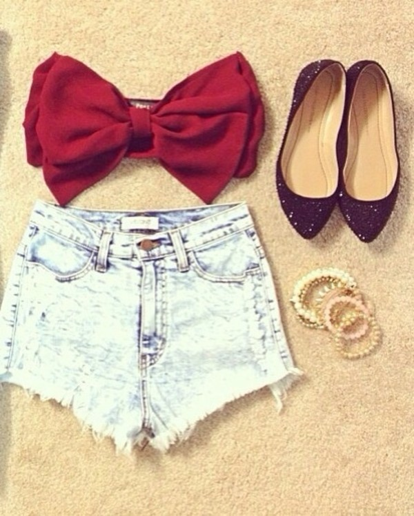 shorts High waisted shorts denim light wash shorts bandeau bow bandeau red black flats sparkle stacked bracelets pearl pretty tank top shoes jewels