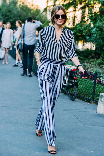 pants work outfits spring outfits olivia palermo celebrity wide-leg pants stripes striped pants striped shirt shirt sunglasses aviator sunglasses office outfits streetstyle sandals sandal heels high heel sandals black sandals