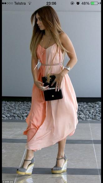 white summer dress colour-block peach vanessa hudgens boho