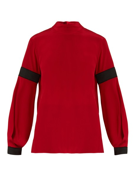 Amanda Wakeley blouse high silk red top