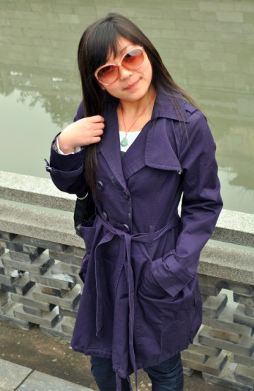 Breasted lapel coat with belt purple