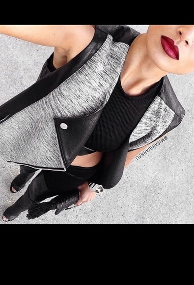 jacket black vest grey outerwear