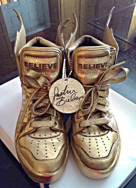 shoes justin bieber believe believe tour bieber gold