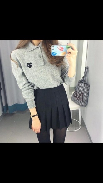 comme des garcons shirt long sleeves heart eyes grey korean fashion korean style skirt sweater grey sweater style pretty collar polo shirt black eye grey top grey shirt top heart sweater hear dark blue cool cute skinny school uniform skater skirt fold tumblr