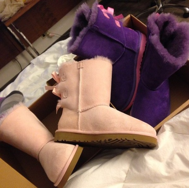 pink and purple ugg boots with bows