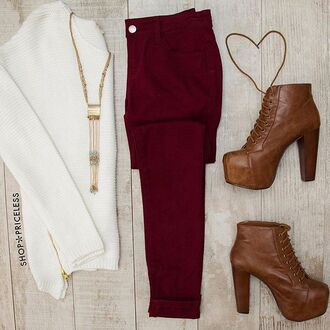 jeans white cute gold skinny jeans burgandy jeans brown leather boots brown leather booties white sweater winter outfits burgundy laced booties long necklace cute necklace gold necklace