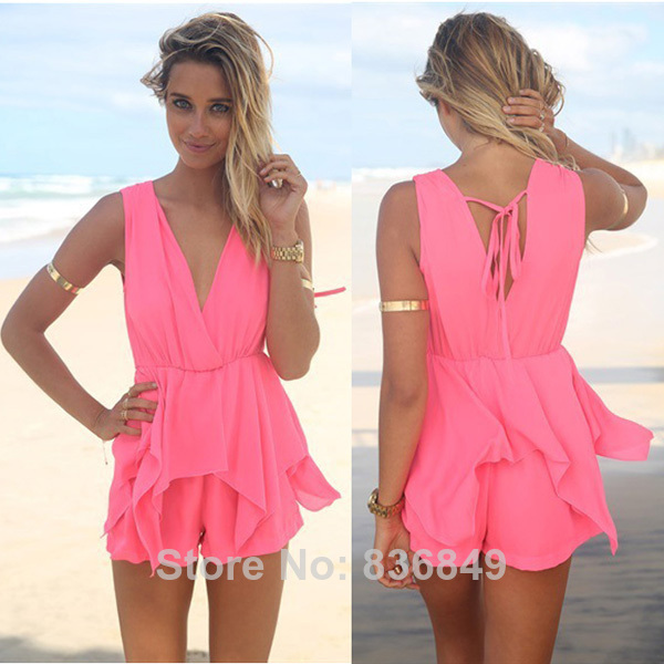 J1 Summer Hot Womens Fashion Sexy Overalls Color Pink Deep Backless V Neck Jumpsuit Short Romper Free Shippin Drop Shipping-in Jumpsuits & Rompers from Apparel & Accessories on Aliexpress.com