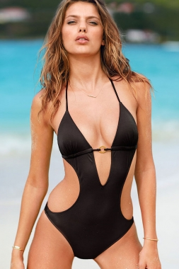 Black Push-up Triangle Teddy Swimwear, Wholesale Teddy Swimwear
