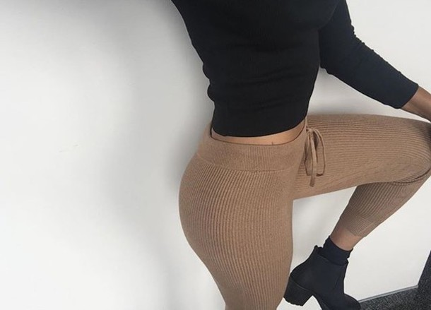 Pants light brown leggings fall outfits winter outfits winter outfits ribbed ribbed pants ...