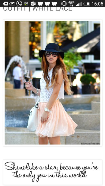 top white top skirt hat sunglasses bag black hat horloge