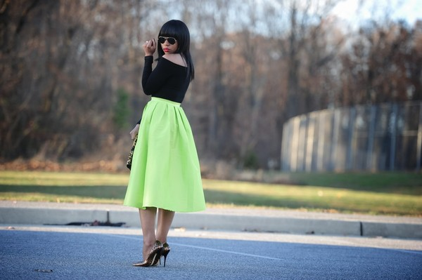 skirt neon leopard print full skirt