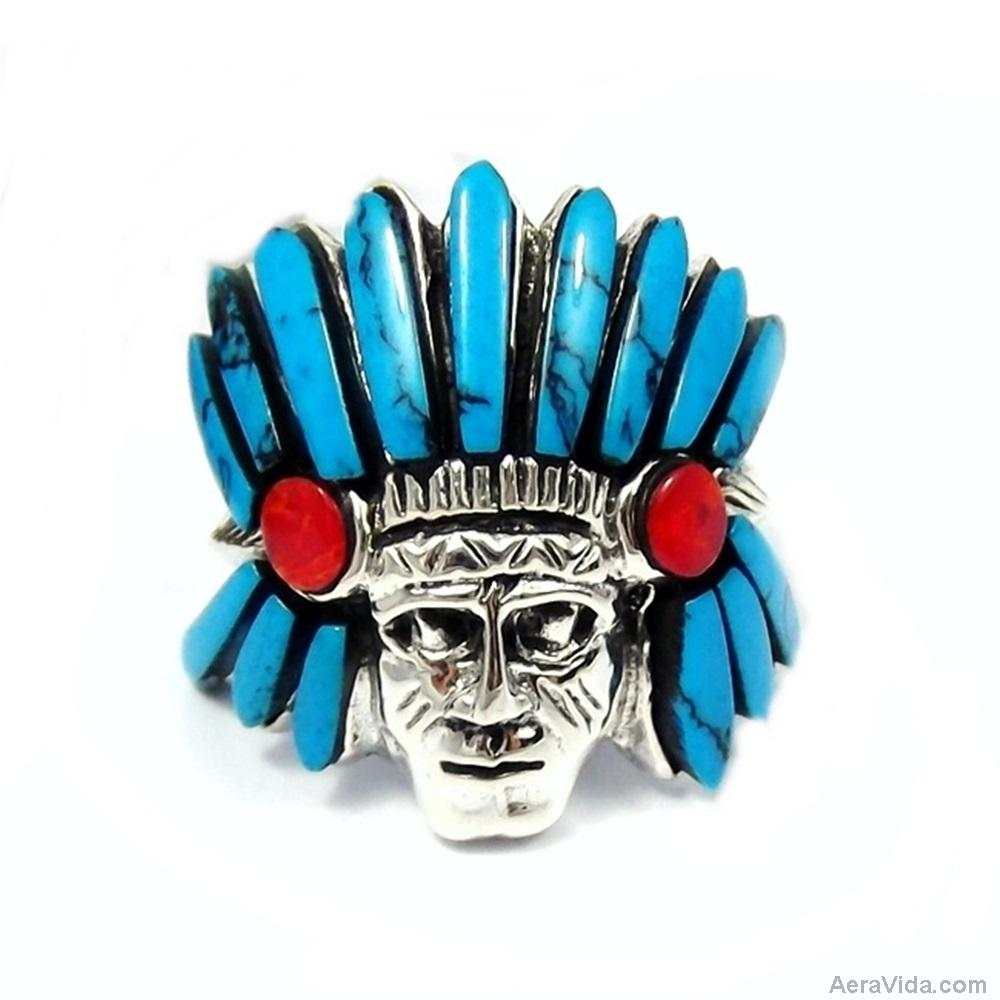 Native American Indian Blue Turquoise Stone .925 Silver Ring 6 - AeraVida
