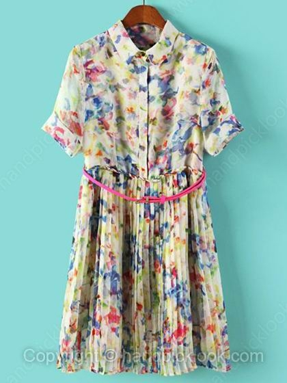 Multicolor Lapel Short Sleeve Floral Print Pleated Dress - HandpickLook.com
