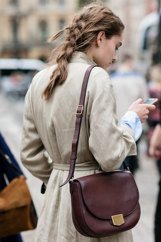 bag tumblr brown bag shoulder bag coat trench coat nude coat braid hairstyles fall coat light coat leather bag college