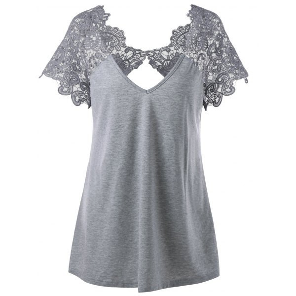 top t-shirt grey t-shirt lace trim lace trim t-shirt plus size plus size t-shirt cutwork